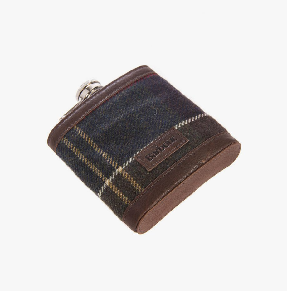 Kit Barbour Tartan Hip Flask and Cups
