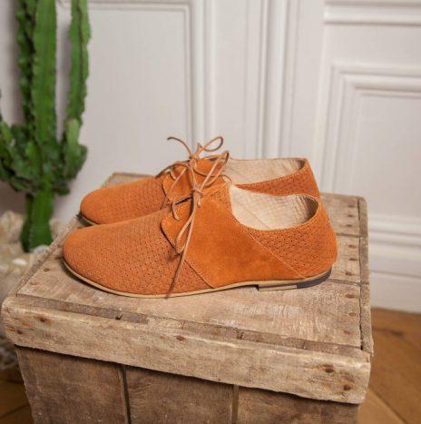 Chaussure Marcel Daim tréssé cognac Monsieur Moustache