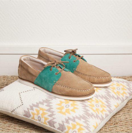 chaussure Marin Monsieur Moustache beige / vert