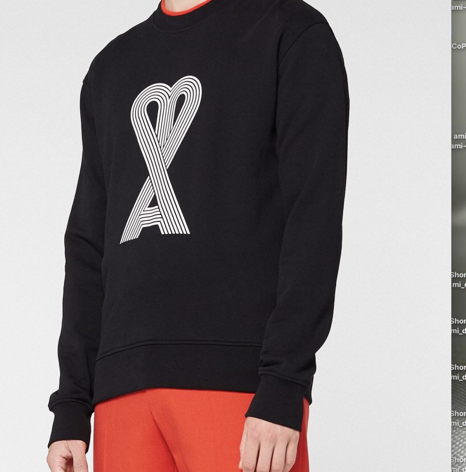 Sweatshirt Ami de Coeur Linéaire Noir