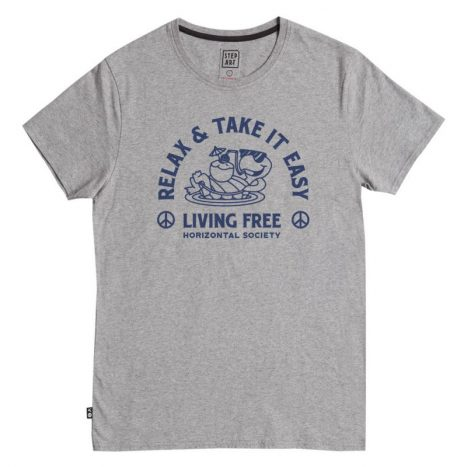 Tee-Shirt Living Free StepArt H.grey